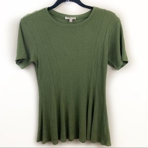 Bordeaux Anthropologie Olive Green Flare Top⭐️